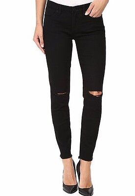 Blank NYC #1806 Intro Black Distressed Crop w/Ripped Knees Skinny Jeans