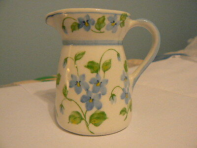 Andrea by Sadek Blue Violets Floral Hand Painted Small Pitcher W/ Handle #062