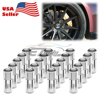 Silver 20 PCS M12X1.25 Lug Nuts Extended Tuner Aluminum Wheels Rims Cap WN02