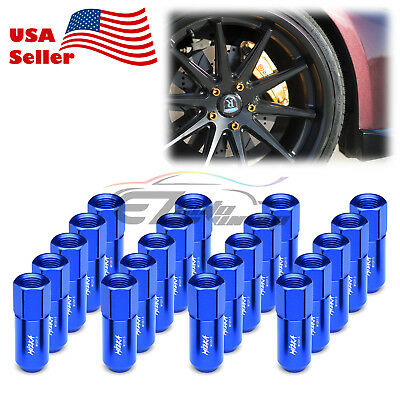 Blue 20 PCS M12X1.5mm Lug Nuts Extended Tuner Aluminum Wheels Rims Cap WN02
