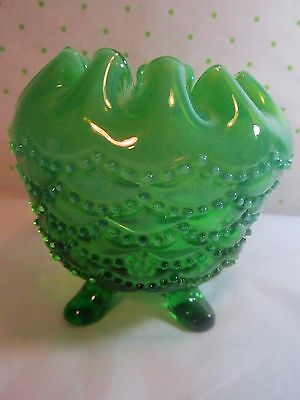 Jefferson Glass Green Opalescent Footed Beaded Drapes  Rosebowl   4x4.5 ca1904