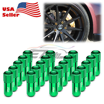 Green 20 PCS M12X1.5mm Lug Nuts Extended Tuner Aluminum Wheels Rims Cap WN02