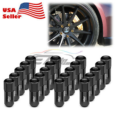 Black 20 PCS M12X1.5mm Lug Nuts Extended Tuner Aluminum Wheels Rims Cap WN02