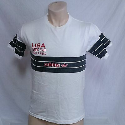 VTG Adidas USA Track Field T Shirt Olympics Trefoil Tee Staff 80s Run DMC Medium