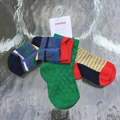 Hanna Andersson Awesome Baby Boy's Socks 3 Pairs. 6-12 months.  New with tag!!
