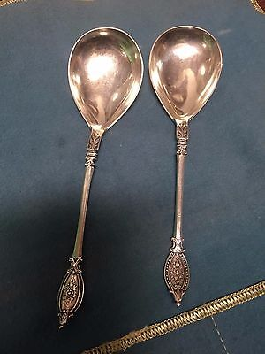 1882 Pair Danish Antique sterling 800 silver spoons Assay Simon Groth