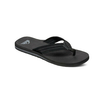 QUIKSILVER NEW Mens Carver Suede Black Summer Flip Flops BNWT