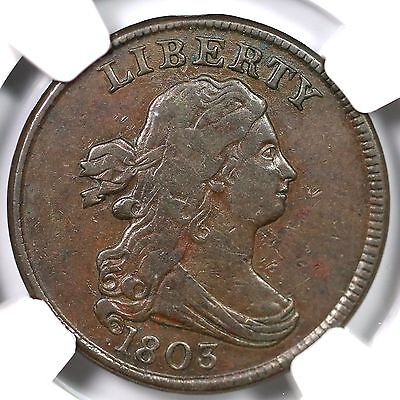 1803 C-2 R-4 NGC VF 35 Draped Bust Half Cent Coin 1/2c