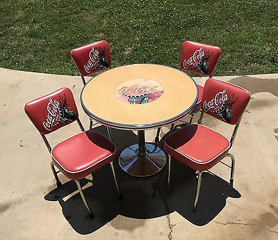 Coca Cola Round Diner Table with Round Base & 4 Padded Chairs Rustic