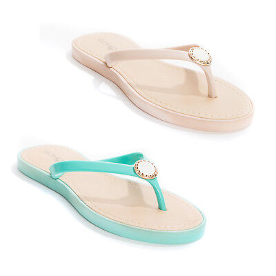 New Soho Shoes Women's Pearl Jelly T-Strap Thong Flip Flop Flat Sandal