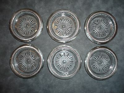 6 Vintage Crown Sterling Silver and Glass Coasters