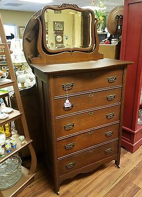 Antique 5 drawer oak chest with beveled mirror,,LOCAL PICKUP ONLY