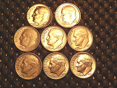 Lot Of 8 United States Of America Coins 10 Cent Roosevelt* Unc  Usa