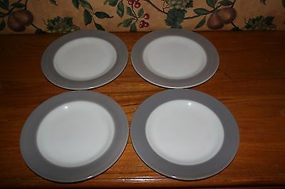 "Vintage Pyrex Gray (No Gold) Salad Plates 8-1/4""-Set Of 4"