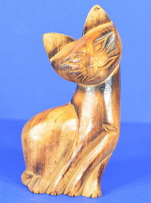 """Carved Wood Cat Siamese Height 6"""""""