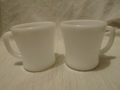Two Vintage Federal Glass D-Handled White Milk Glass Coffee Cups
