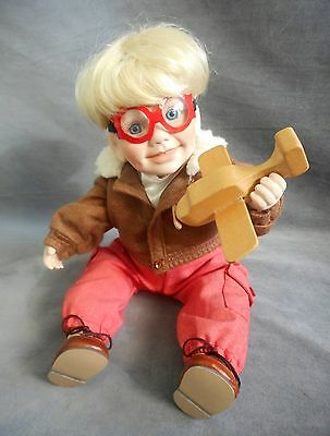 Danbury Mint Porcelain Aviator Boy Doll Tommy w/Goggles and Wooden Airplane