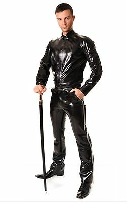 Men's Latex Rubber by Libidex, Tuxedo Shirt M Transparent Black