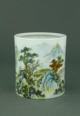 Famille Rose Porcelain Brush Pot Wang Yunquan Mark