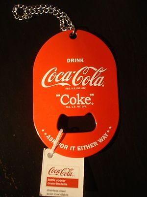 COCA COLA Bottle Opener with chain to Hang New