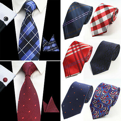 Men's Classic Red Black Business Tie Stripe Silk Necktie Set Wedding Jacquard