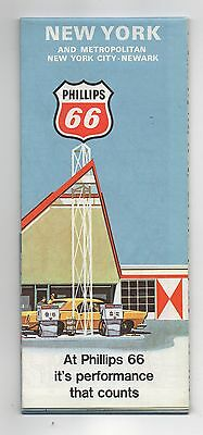 Vintage 1968 PHILLIPS 66 OIL CO Road Map of New York, Metropolitan NYC & Newark
