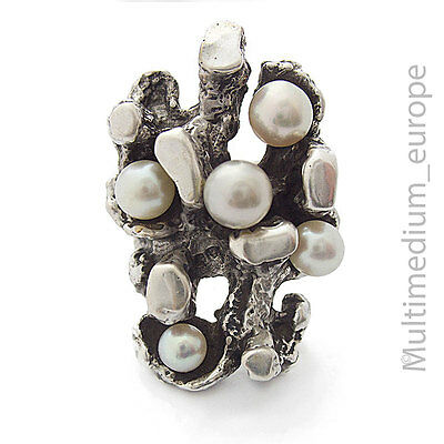 Modernist Silber Ring Perlen silver ring pearls 835 Oly ?