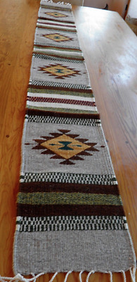 """Runner Zapotec Native Mexican 100% Wool Hand Woven Grays 10"""" x 80"""" Table"""