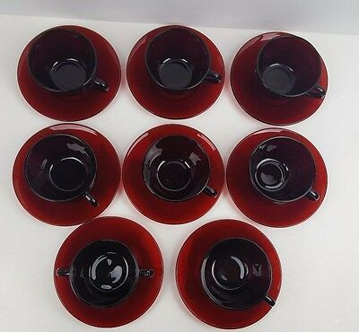 Set of 6 Vintage Ruby Red Depression Glass Cups and Saucers with Sugar Bowl