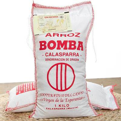 2kg Bomba Rice of Calasparra : The Best Paella Rice : 2 x 1kg Cloth Bags