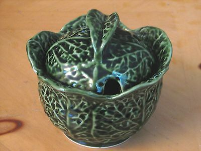 Portugal Majolica Cabbage Leaf Green Small Tureen Serving Bowl