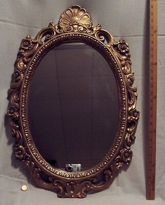 Antique Syroco Ornate Gold Gilded Plaster Victorian Style Oval Wall Mirror