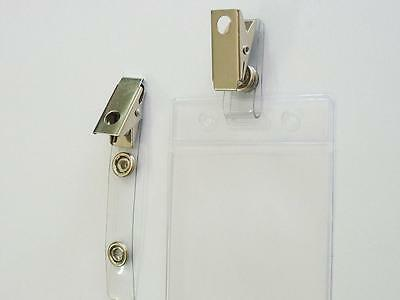 2x id straps with alligator clip for id security card holders to lanyard chain