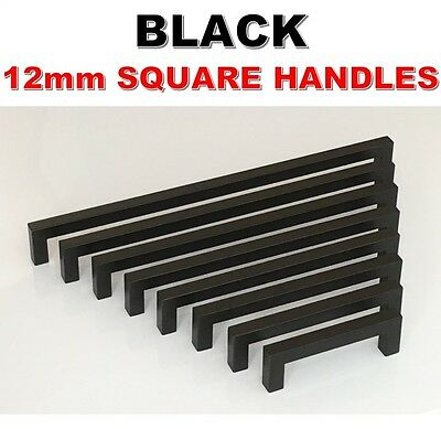 Black Stainless Steel Kitchen Cabinet Door Drawer Handles Square 12mm Pulls