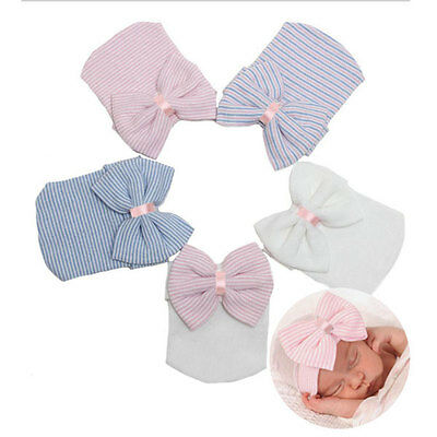 Baby Girls Hat Infant Colorful Striped Soft With Bow Cap Hospital Newborn Beanie