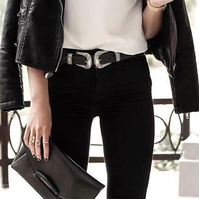 Double Buckle Thick Metal Faux Leather Wide Western Belt Ladies Waist Band LH