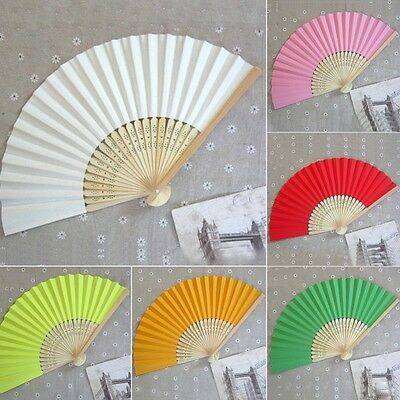 Chinese Faltfächer Bamboo Hand Folding Hochzeitsfest Tanz Fan Party Wedding NEU