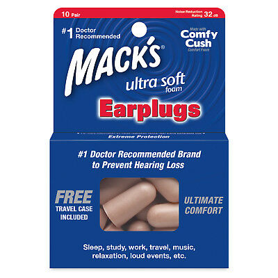 Macks Ultra Soft Foam Earplugs 10 Pairs NRR32 Decibels