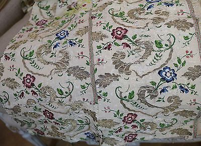 Antique Spitalfields Silk English 18th Century Flowers Gold Metallic Threads