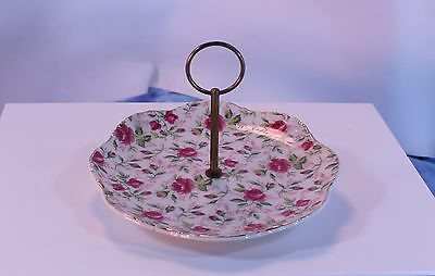 VINTAGE Hand Painted Lefton China ROSE CHINTZ Serving Tray NICE  zhsq001