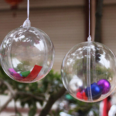 New 8cm Clear Christmas Decoration Hanging Ball Baubles Round Bauble Xmas Tree