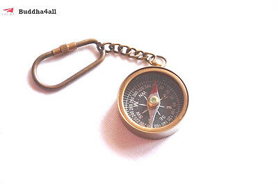 Antique Small Brass Compass 3.5 cm With Key Chain Vintage Marine Decorative Gift
