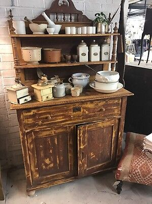 French, 19th Century, Antique, Vintage, Painted Dresser Cupboard, Original