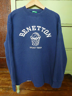 BENETTON Vintage Men SWEATSHIRT Pullover Retro Blue Basketball L Large