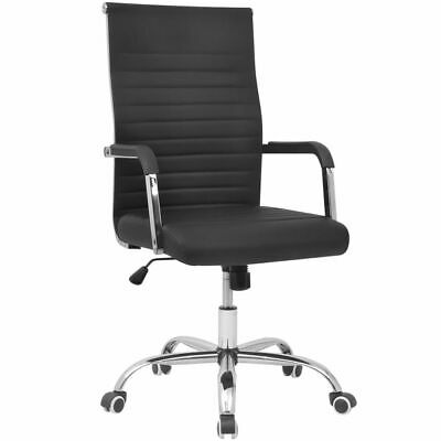 vidaXL High Back Executive Swivel Computer Desk PU Leather Office Chair Black