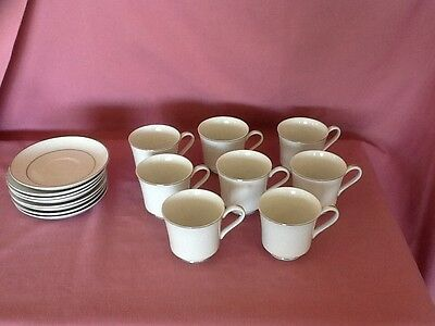 CROWN VICTORIA FINE China - LOVELACE -- (8) CUPS & SAUCERS. P