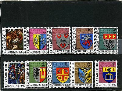 LUXEMBOURG 1982-1983 Sc#B338-B346 ARMS 2 SETS OF 5 STAMPS MNH