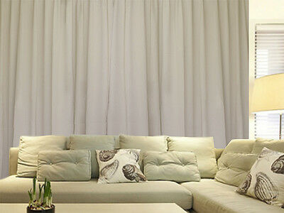 Blockout Curtains 530x230cm PINCH PLEAT 2 panel Blackout High Level Fabric Cream