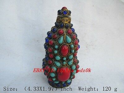 Chinese  Tibet copper multicolor. Turquoise snuff bottle