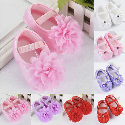 Neu Toddler Girl Crib Shoes Baby Bowknot Soft Sole Anti-slip Sneakers New 0-18M